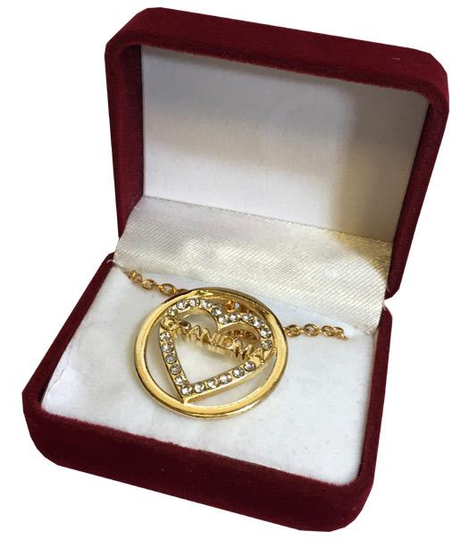 Grandma Crystal Gold Heart Necklace in Maroon Box - Grandma Gifts - Buy Holiday Shop Gifts