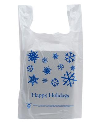 50 Pack - Happy Holidays T-Shirt Shopping Bags - Santa Shop Gift Bags - Buy Holiday Shop Gifts