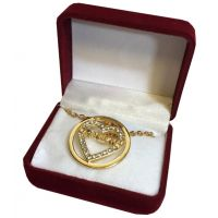 Grandma Crystal Gold Heart Necklace in Maroon Box - Grandma Gifts - Buy Holiday Shop Gifts