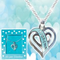Grandma Teal Heart Necklace - Grandma Gifts - Buy Holiday Shop Gifts