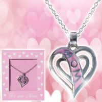 Mom Pink Heart Necklace - Mom Gifts - Buy Holiday Shop Gifts